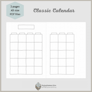 Classic calendar [normal boxes, no art]on two pages A5 size PDF files