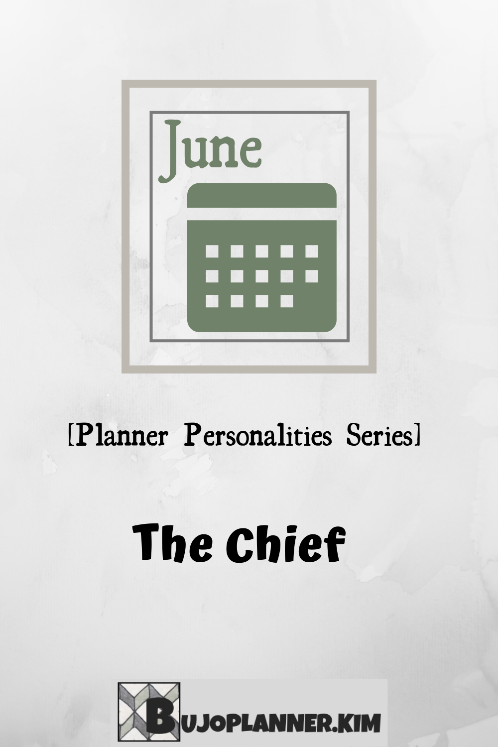 A planner page with the month name and a calendar. The title reads 'The Chief' Planner personalities series